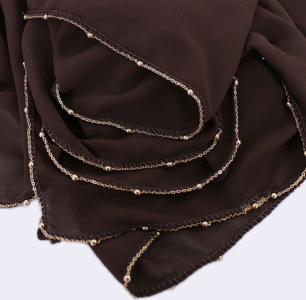 Chain Chiffon Shawl - Chocolate