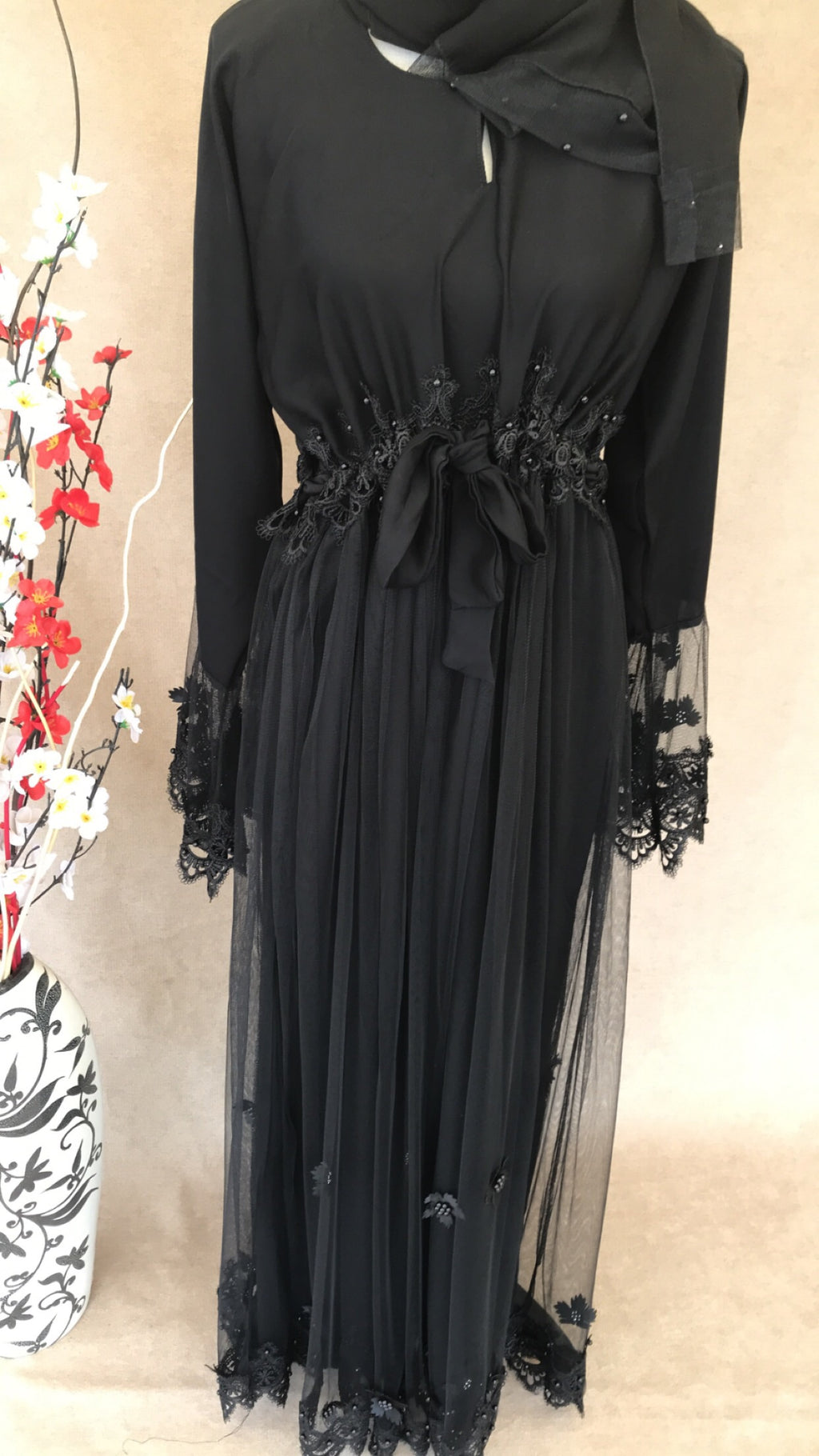 Black Embellished Abaya with Lace & Pearls