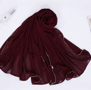 Chain Chiffon Shawl - Burgundy