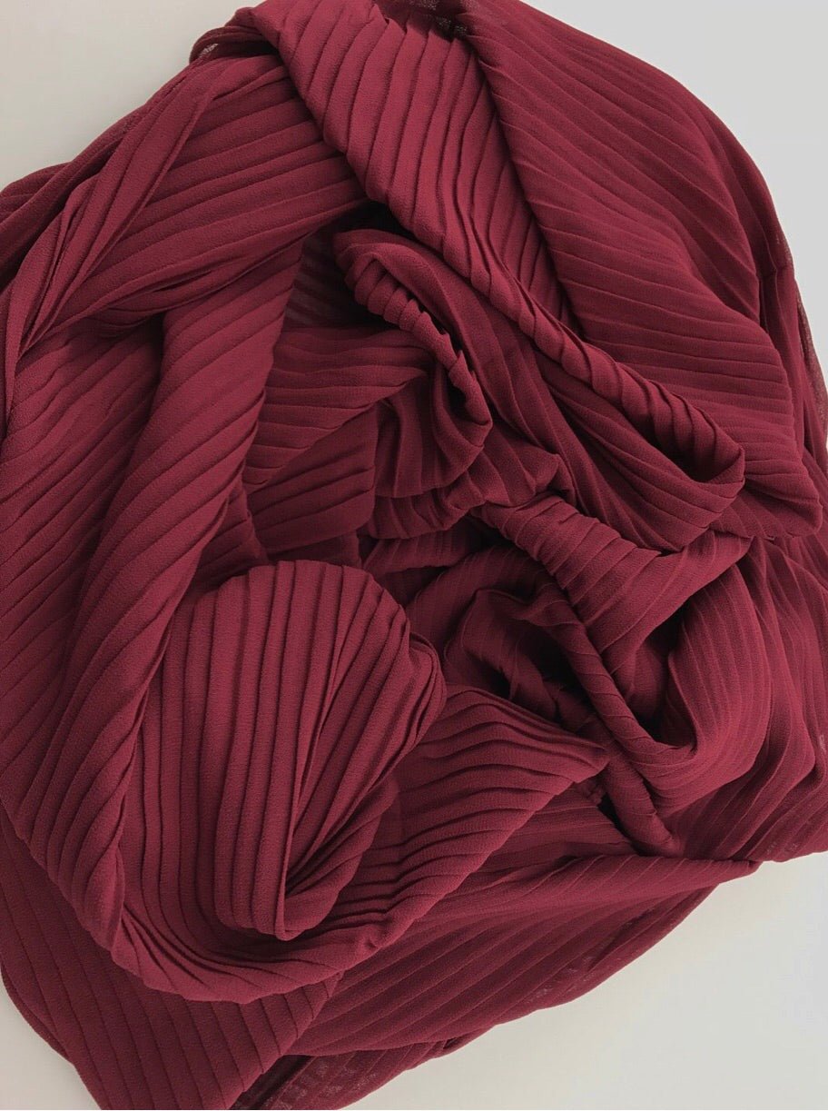Pleated Chiffon - Burgundy