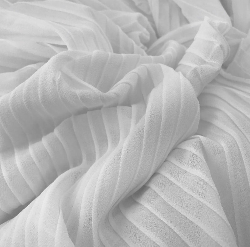 Pleated Chiffon - White