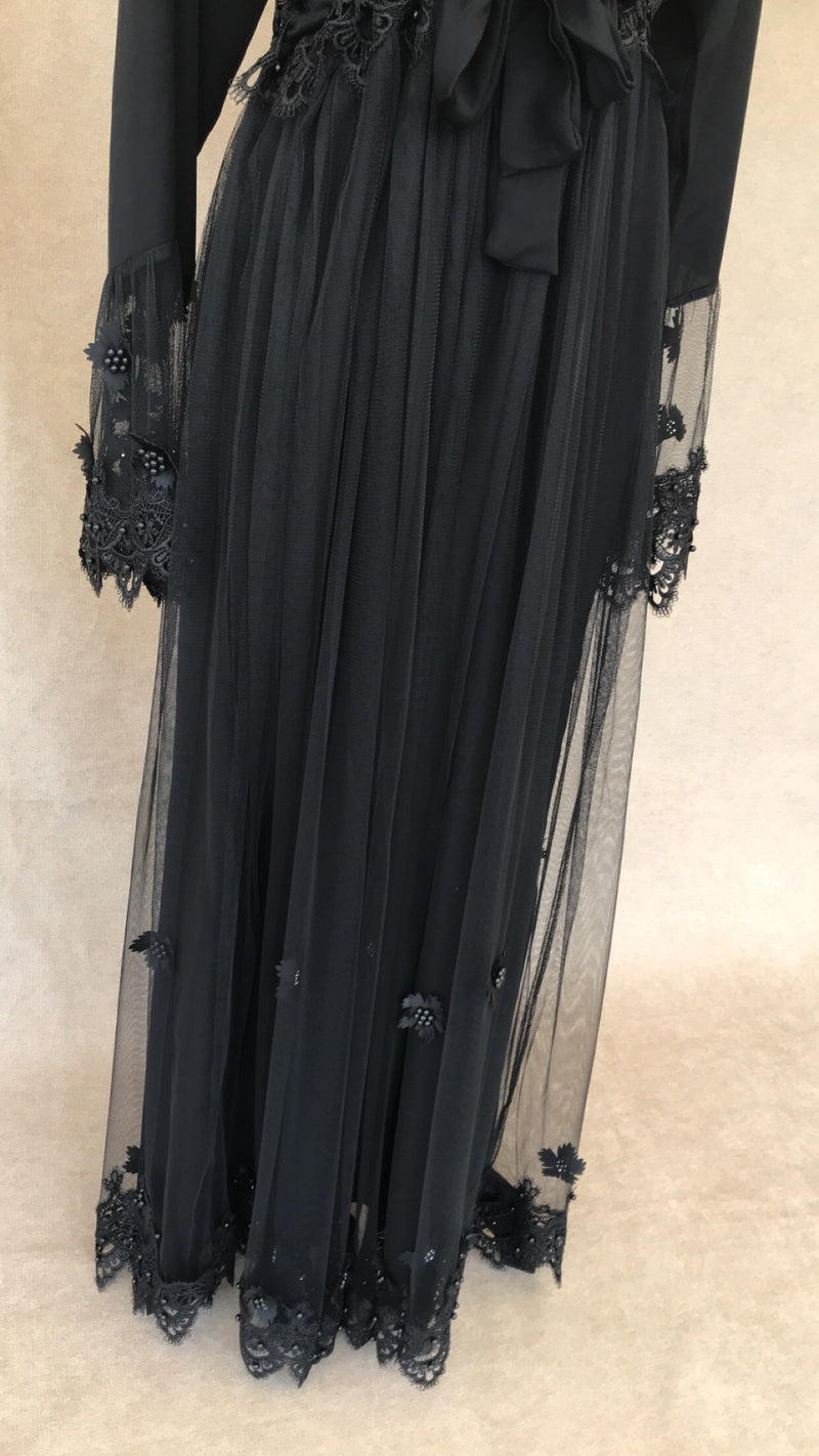 Black Embellished Lace Abaya