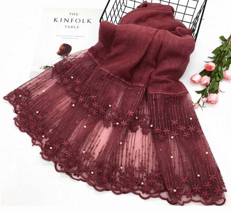 Cotton Lace Shawl - Maroon