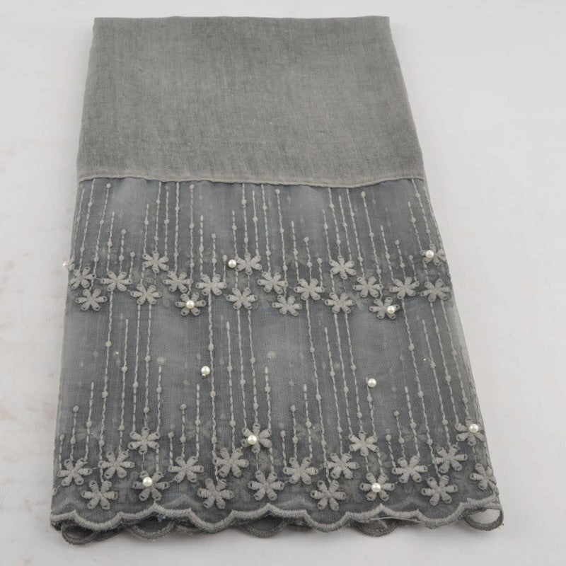 Cotton Lace Shawl - Grey