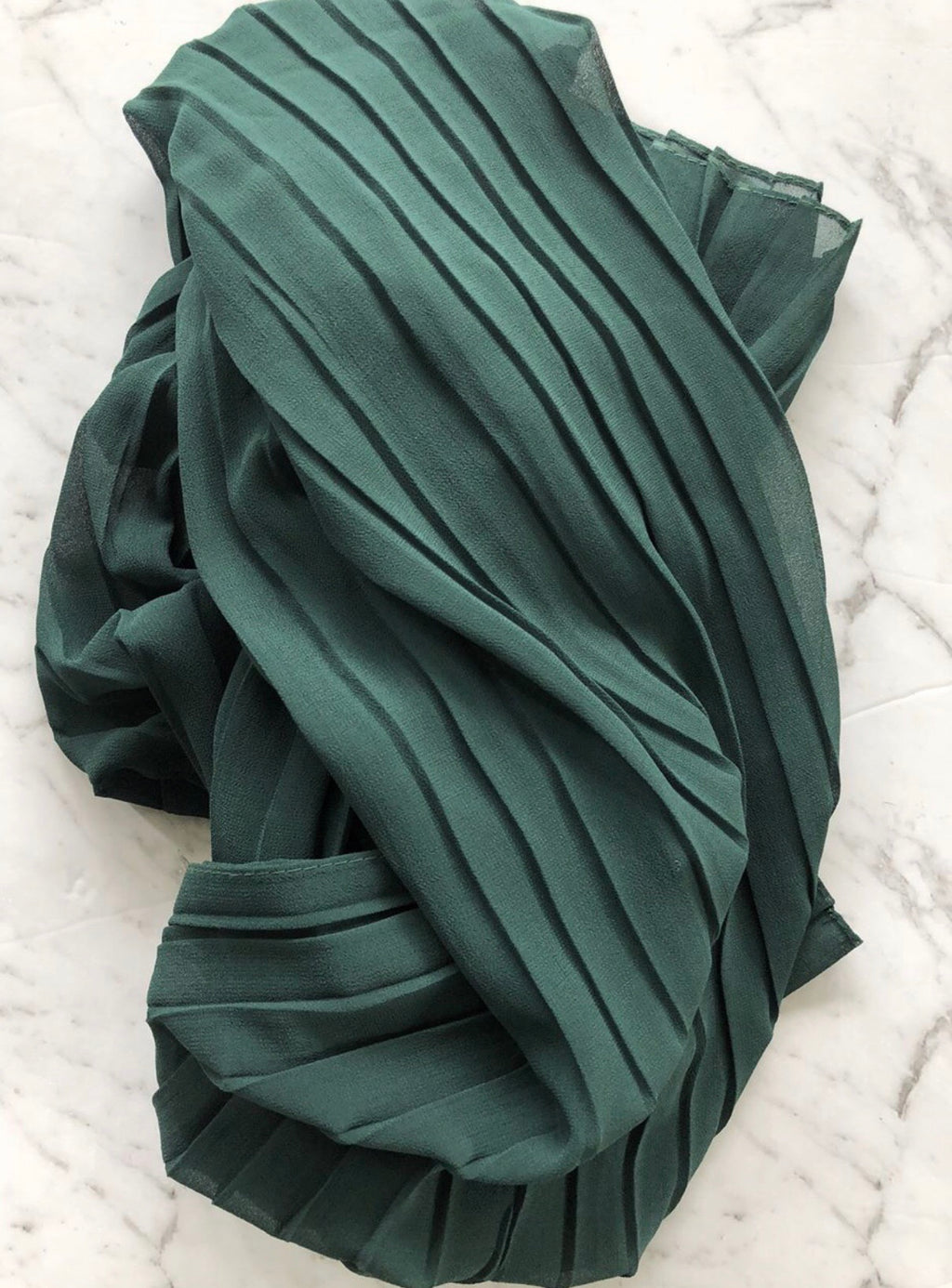 Pleated Chiffon - Forest Green