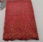 Floral Half Lace Shawl - Red