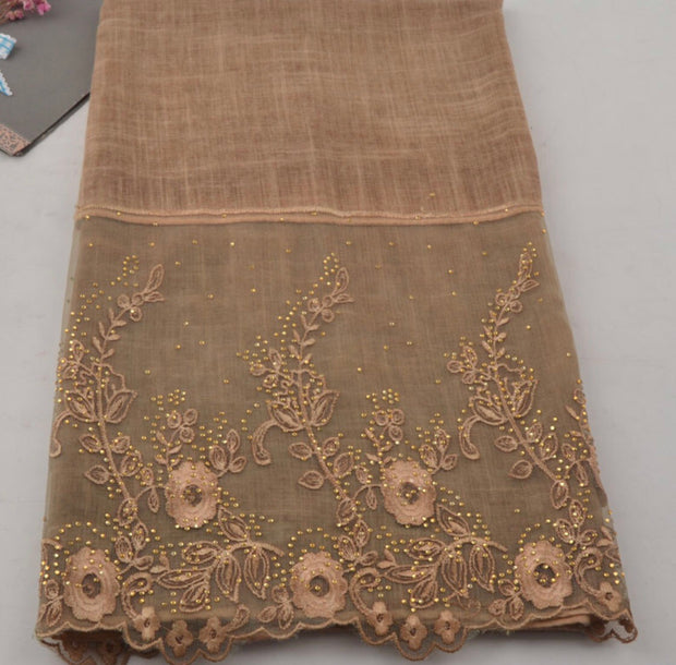Floral Half Lace Shawl - Brown