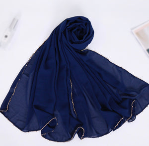 Chain Chiffon Shawl - Navy Blue