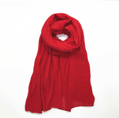 Pleated Chiffon - Red
