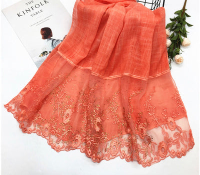 Floral Half Lace Shawl - Light Orange