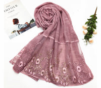 Floral Half Lace Shawl - Rose