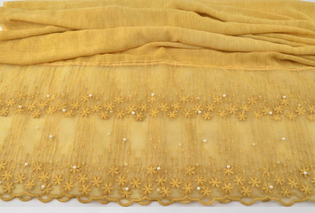 Cotton Lace Shawl - Mustard