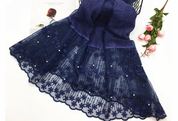 Cotton Lace Shawl - Navy Blue
