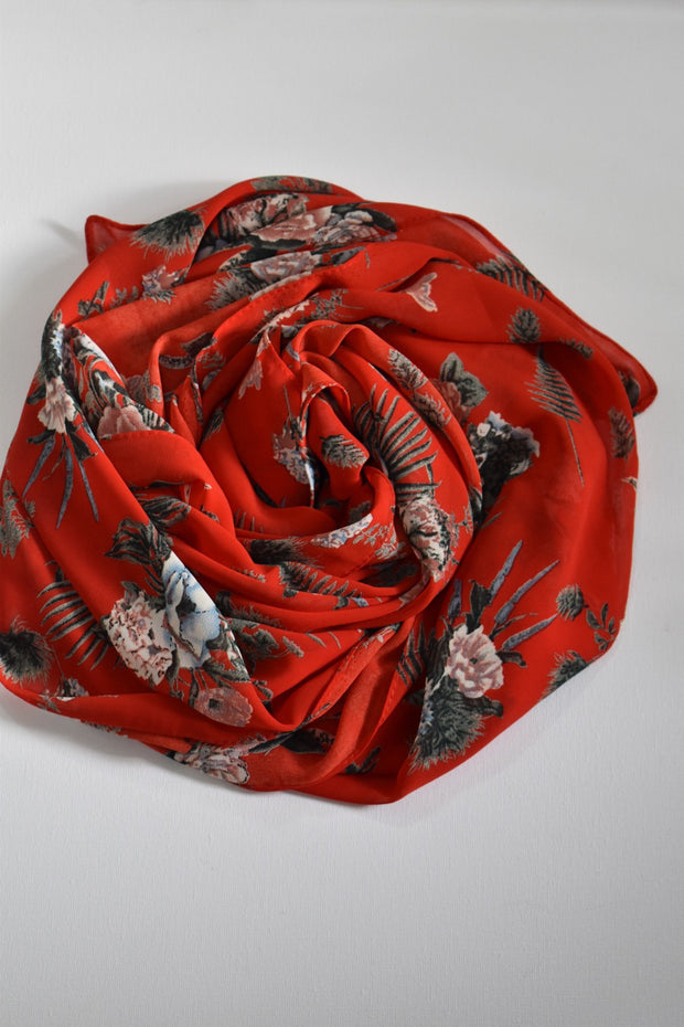 Floral Chiffon - Red