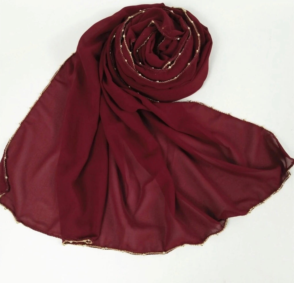 Chain Chiffon Shawl - Red