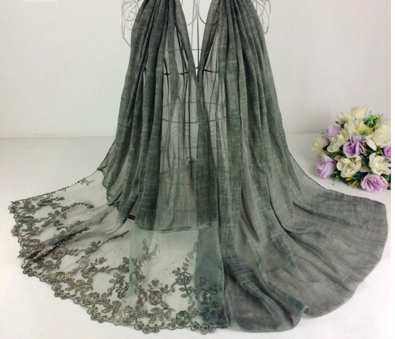 Floral Half Lace Shawl - Seaweed