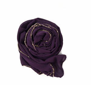 Chain Chiffon Shawl - Purple
