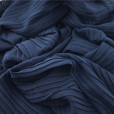 Pleated Chiffon - Navy Blue