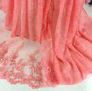 Floral Half Lace Shawl - Sandstone
