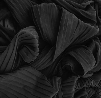 Pleated Chiffon - Black
