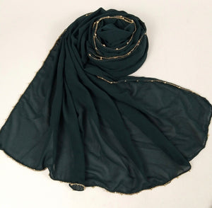 Chain Chiffon Shawl - Forest Green