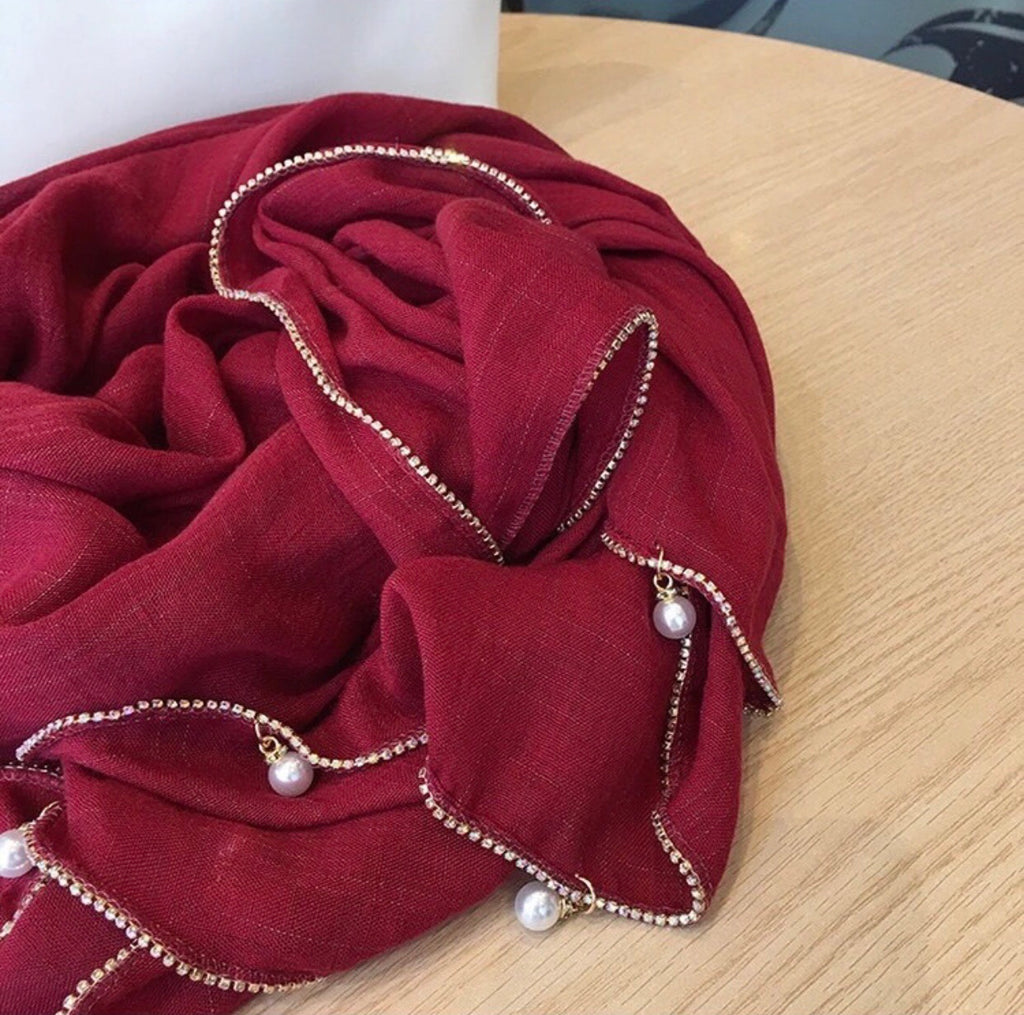 Crystal chain Shawl - Red