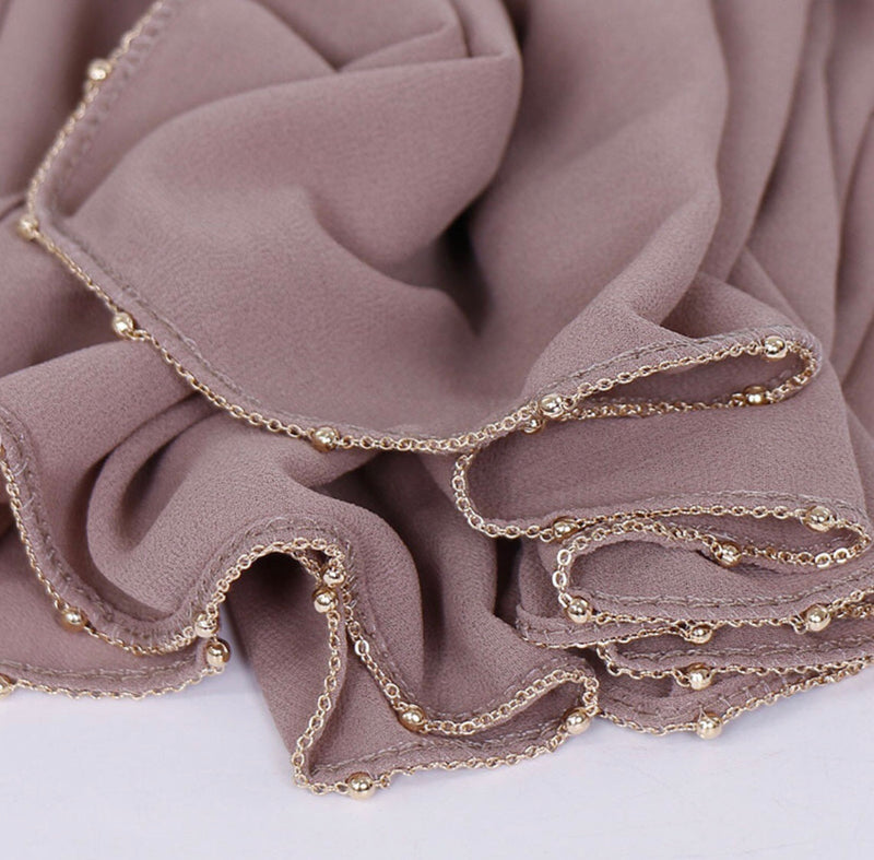 Chain Chiffon Shawl - Dusty Pink