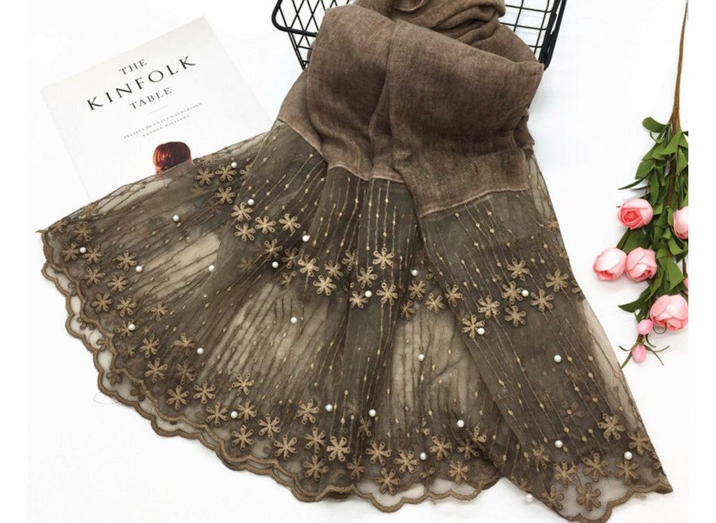Cotton Lace Shawl - Brown