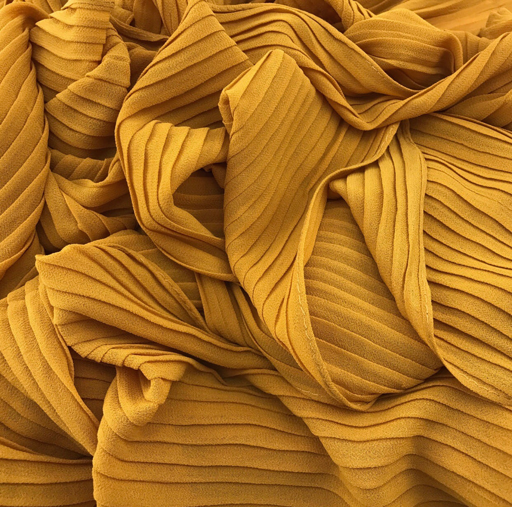Pleated Chiffon - Mustard