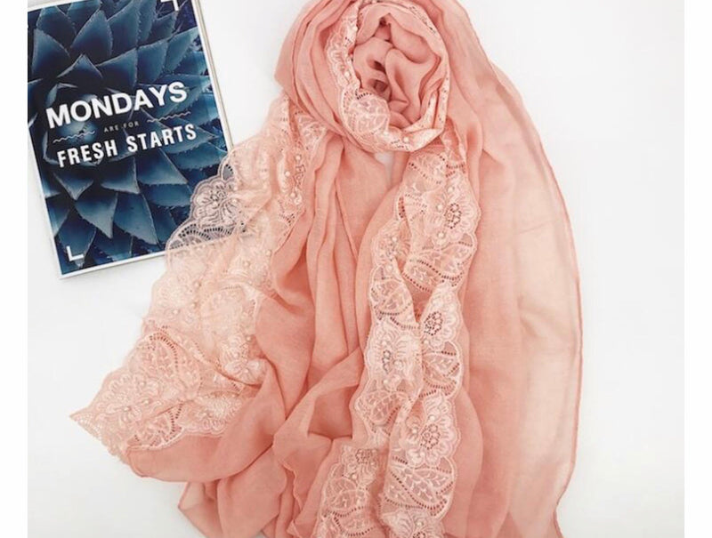 Cotton Lace Edge - Coral
