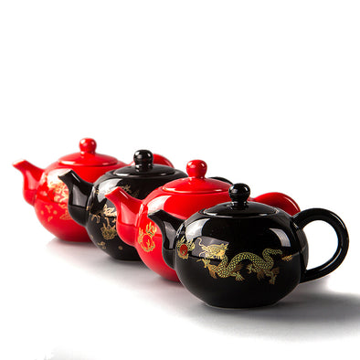 Red Teapot Chinese Dragon Tea Pot