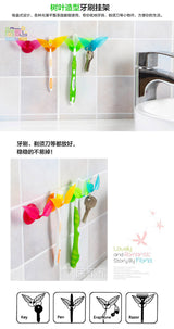 multifunctional toothbrush holder suction cup leaves styling, creative and practical compact rack, razor holder