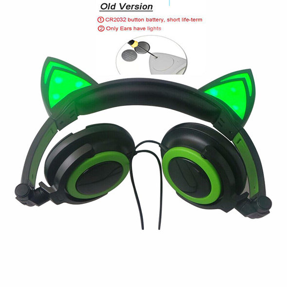 Rechargeable Foldable Flashing Glowing cat ear headphones