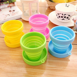 1pc Portable Silicone Folding Water Cup Candy Color Silicone Traveling Foldable