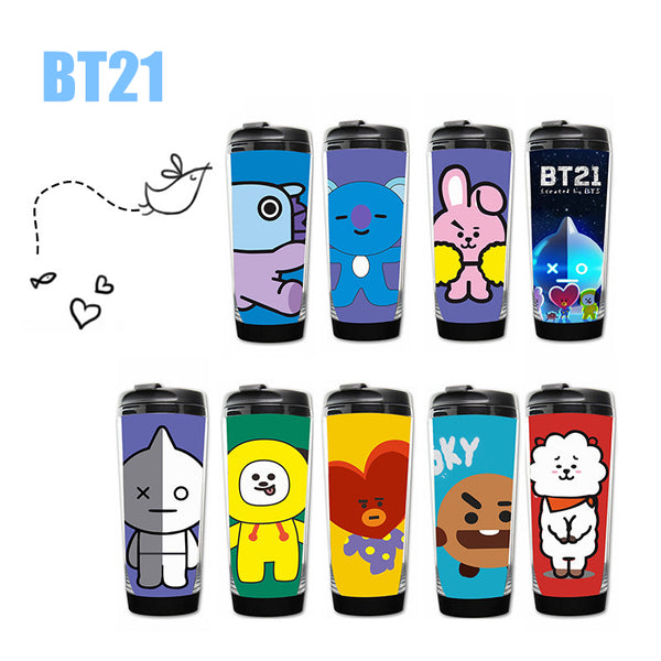 Kpop BTS Bangtan boys bottle drinkware Stainless steel double layer image coffee mug tea cup