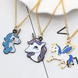 Black Plated Metal Unicorn Necklace