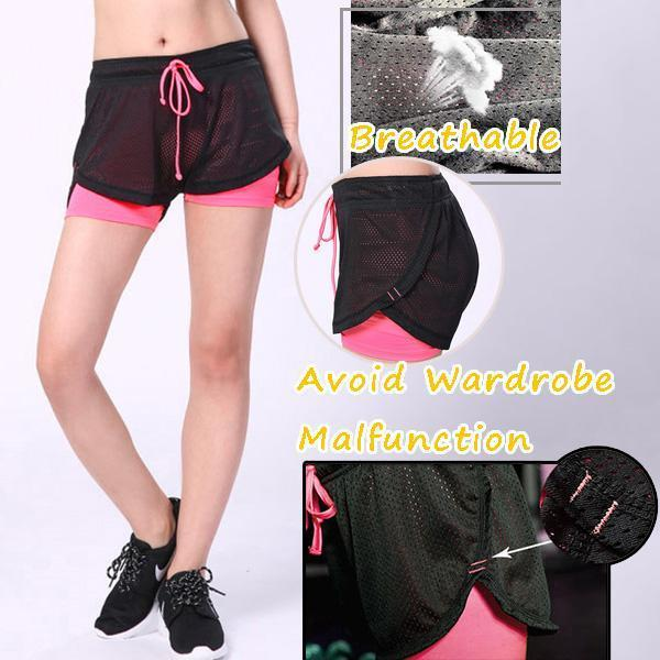 Casual Double Layer Stretchy Fitness Shorts