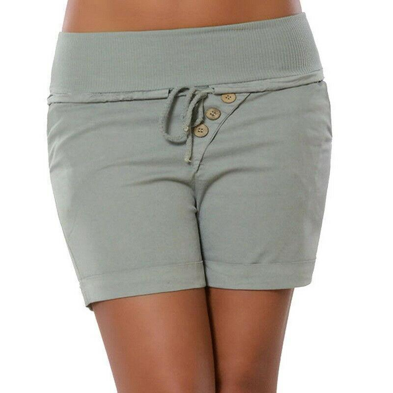 Drawstring Elastic Waist Cotton Blend Crimping Shorts
