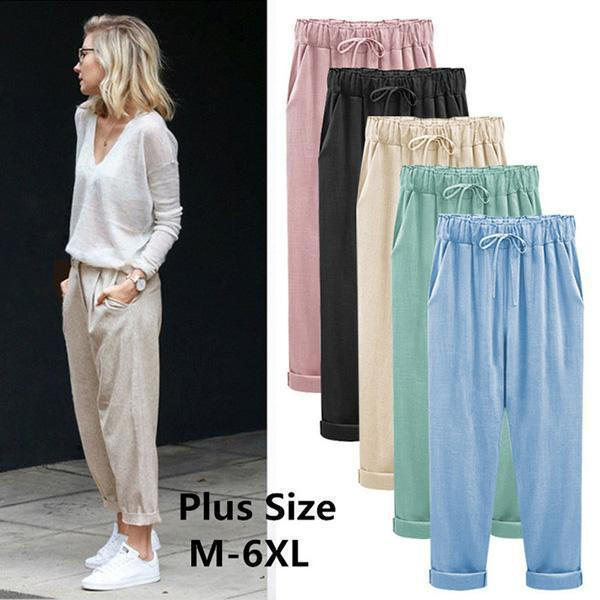 Plus Size Casual Ankle-length Harem Pants