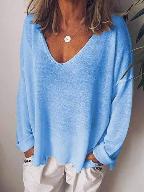 wiccous.com Plus Size Tops Blue / S Casual Solid Color Long-Sleeved T-Shirt