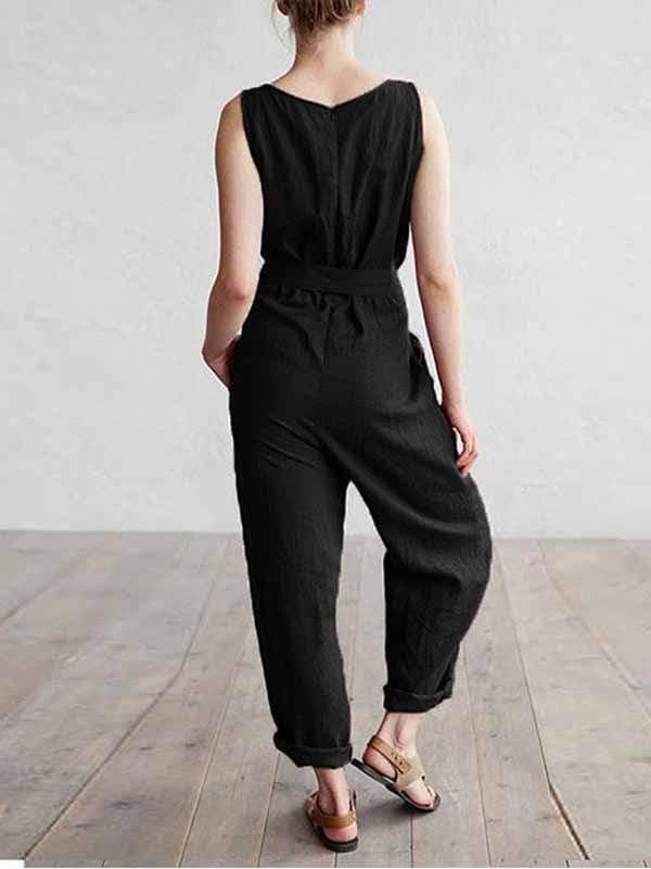 wiccous.com Plus Size Bottoms Black / L Plus size cotton linen jumpsuit