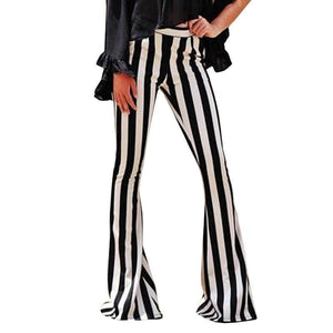 Striped Pocket Bell Bottom Pants