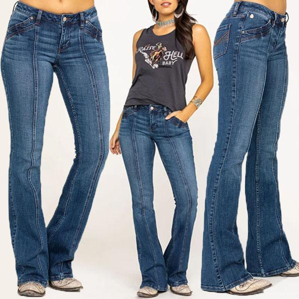 Mid Waist Stretch Novelty Seam Leg Bootcut Jeans