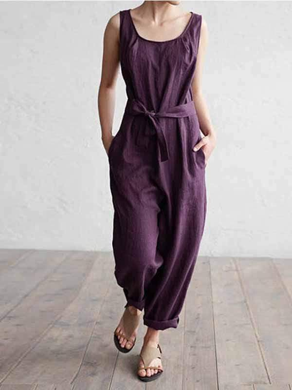 wiccous.com Plus Size Bottoms Purple / L Plus size cotton linen jumpsuit