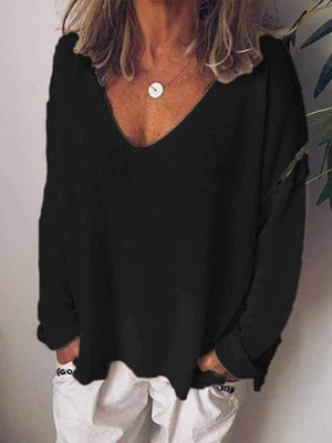 wiccous.com Plus Size Tops Black / S Casual Solid Color Long-Sleeved T-Shirt