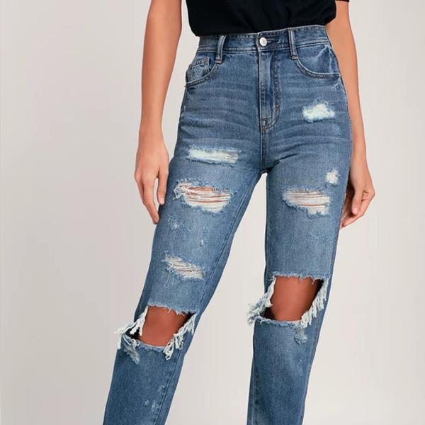 Medium Wash Destroyed High-rise Mom Jeans