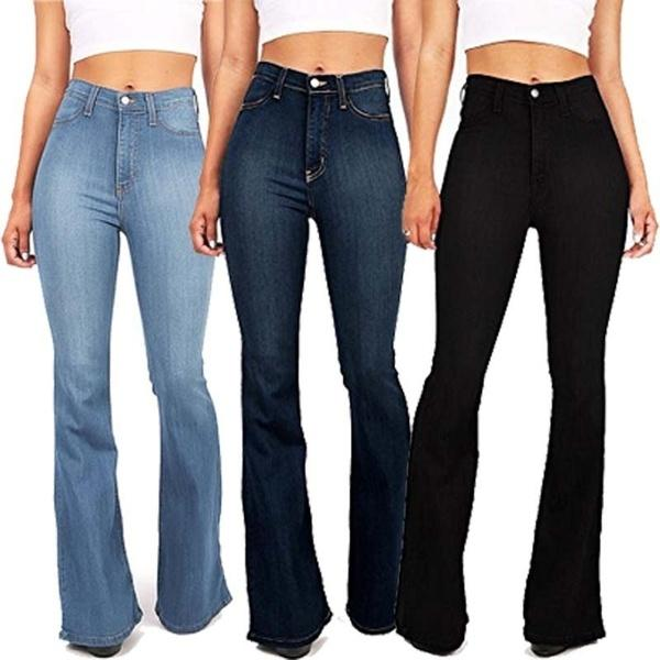 High-rise Stretch Fitted Bell-bottom Jeans