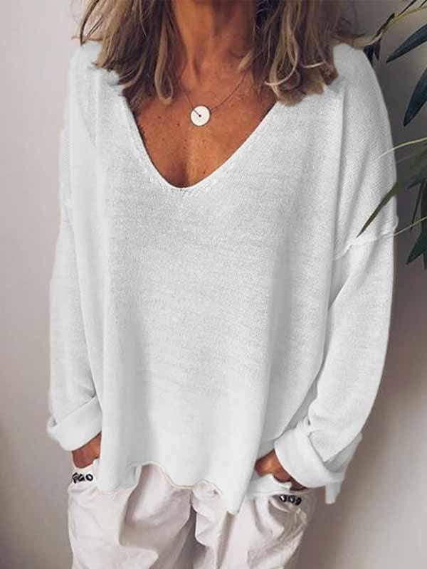 wiccous.com Plus Size Tops White / S Casual Solid Color Long-Sleeved T-Shirt