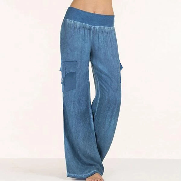 Women's Casual Elastic Waist Pockets Wide Leg Pants