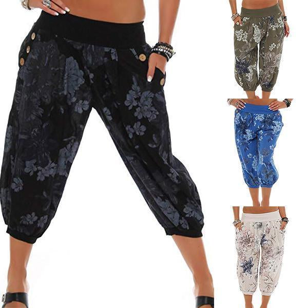 Loose Button Floral Printed Casual Cropped Pants Bloomers